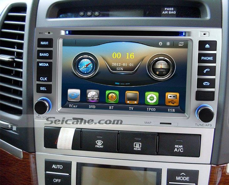 7 inch 2007 2008 2009-2011 Hyundai Santa fe DVD Player Radio GPS Navigation AM FM Bluetooth Music TV iPod MP3 Backup Camera AUX USB SD