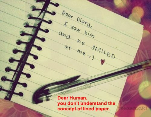 Dear Human, you don't understand the concept of lined paper