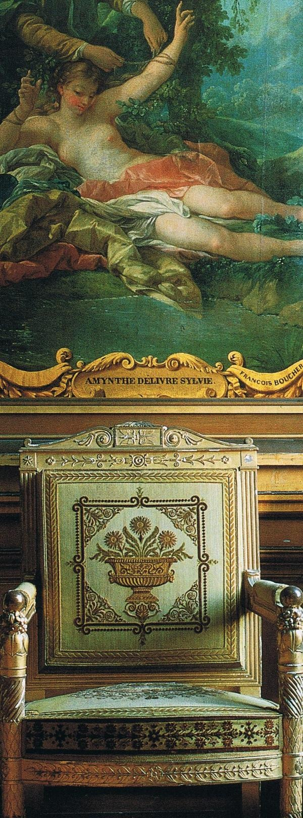 """Napoleon's second salon at Fountainebleau, furnished in 1810.    Carved and guilded armchairs upholstered in green cisele velvet    patterned with urns of flowers surrounded by rosettes    and palm leaves…""    Silk    Jacques Anquetil"