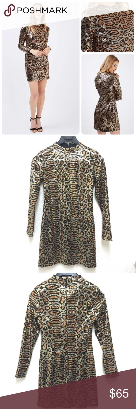 NWT Topshop Leopard Animal Print Sequin Dress US 6 Brand new with tag.  Women size 6US Retail: $110 plus tax  ❌NO Trade.  ❌Lowball Offer Will be IGNORED&BLOCKED.  ⚡️Serious Buyer ONLY⚡️NO DRAMA! ⭐️Same/next day shipping via USPS ⚠I video record all sales from packing to shipping so we are both protected ⚠ Topshop Dresses