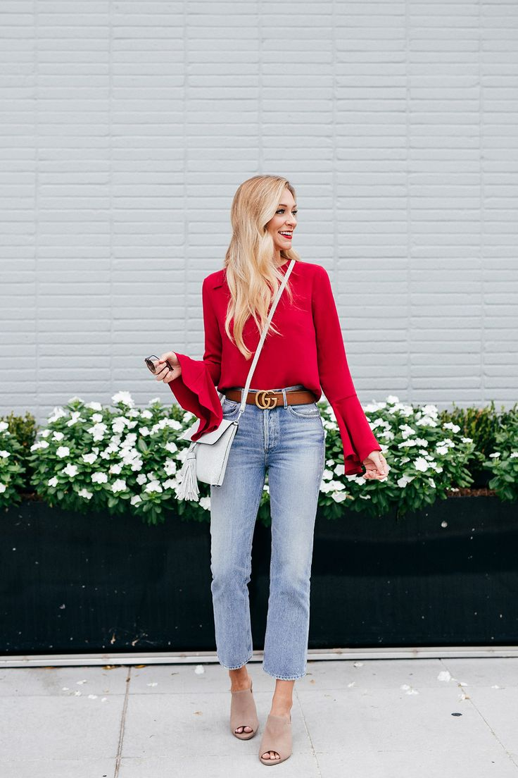 Bell Sleeves For Fall | Cropped Denim | Mules | Gucci Belt sizing info