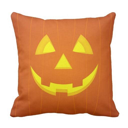Halloween pumpkin face square pillow