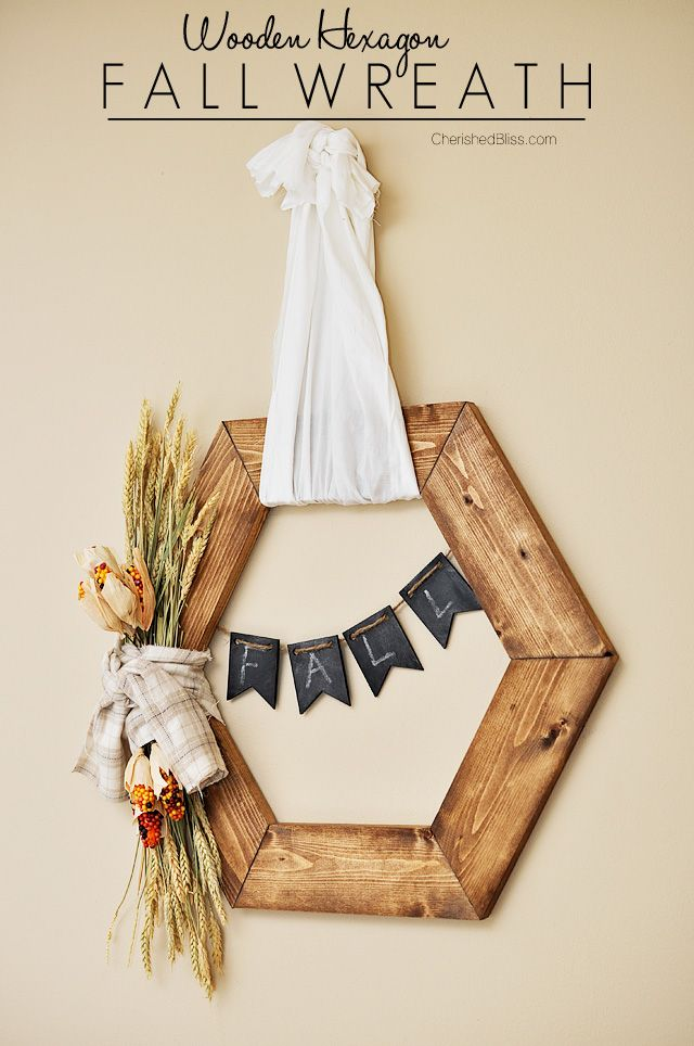 Hexagon Wooden Fall Wreath Tutorial   The perfect rustic accent to this years fall decor!