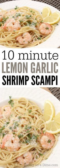 You are going to love this Lemon Garlic Shrimp Scampi Recipe - in just 10 minutes this easy shrimp scampi recipe is done. It is our favorite shrimp recipes. #pastafoodrecipes