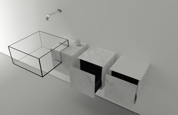 Designer Creates Minimalistic, 'Invisible' Sink Using Glass And Marble - DesignTAXI.com