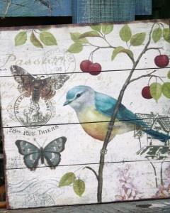 Wooden botanical bird pictures