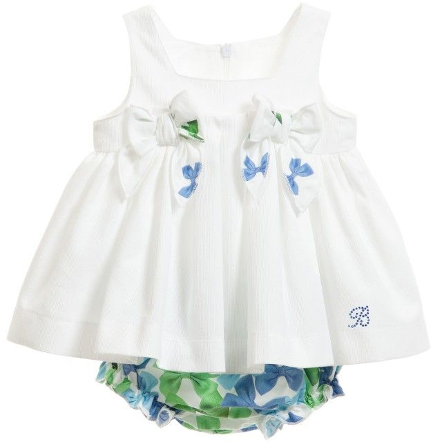 Balloon Chic - Baby Girls White Top with Bow Print Bloomers | Childrensalon