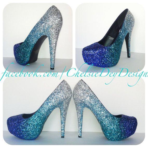 Faded Blues Glitter High Heels by ChelsieDeyDesigns on Etsy, $105.00