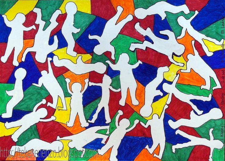 In de stijl van Keith Haring, door leerlingen van groep 4 en 5 Benodigdheden: tekenpapier op A1 formaat karton 10 bij 15 cm ...