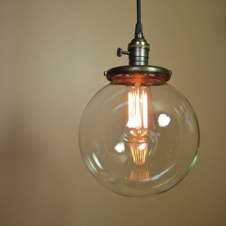 Pendant Light with 8 inch Clear Glass Globe - Edison Light Bulb included - Exposed Socket Design and Antique Reproduction Cloth Wire