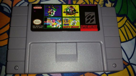 4in1 Super Game Cartridge!  Game Cart Include 4 awesome classic games!  Super Mario World Super Mario World: Return to Dinosaur Land (Fan Made Game) Tiny Toons: Wild & Wacky Sports Tiny Toons: Buster Busts Loose  Relive Some of the most beloved games of the SNES with this 4 in 1 Super Mario World and Tiny Toons Collection on ONE SNES cartridge!  Works on the SNES Console (Cannot guarantee that it works on any 3rd party consoles, such as the Retron consoles)