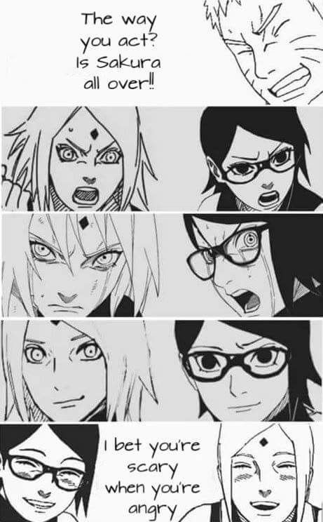 Sarada resembles so much Sakura's personality, but she has her Dad's appearance. ❤️❤️❤️ Why you doubt Sakura isn't your mom's?? It's make her sad you know. It's make me sad too