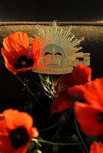 Poppies and Rising Sun badge..