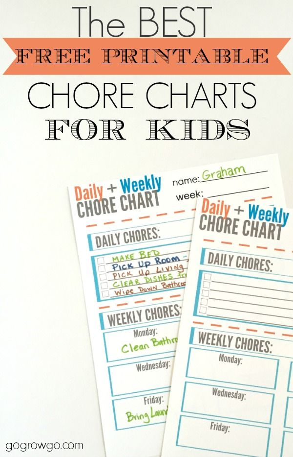This is the best free printable chore chart for kids that provides daily and weekly spaces to fill in. You can easily make this reusable as well.