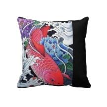 Arte rojo japonés del tatuaje de los pescados de K Cojin