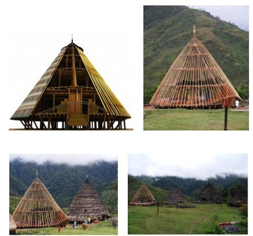 Mbaru Niang the traditional house @  Wae Rebo village-NTT Indonesia, 5 storey communal house, L1'Lutur'=tent where the tribe live. L2'  Lobo'=attic to store food & supplies. L3'Lentar' to store seeds. L4'Lempa Rae' to store food stock for the 'rainy days' L5' Hekang Kode' to store   'langkar'=square webbing from bamboo to be used for the ancient worship ceremony.