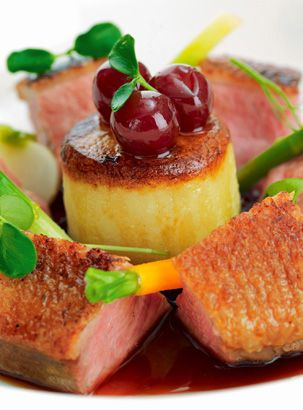 Honey-roasted breast of duck with griottine cherries - Mark Jordan.his duck…