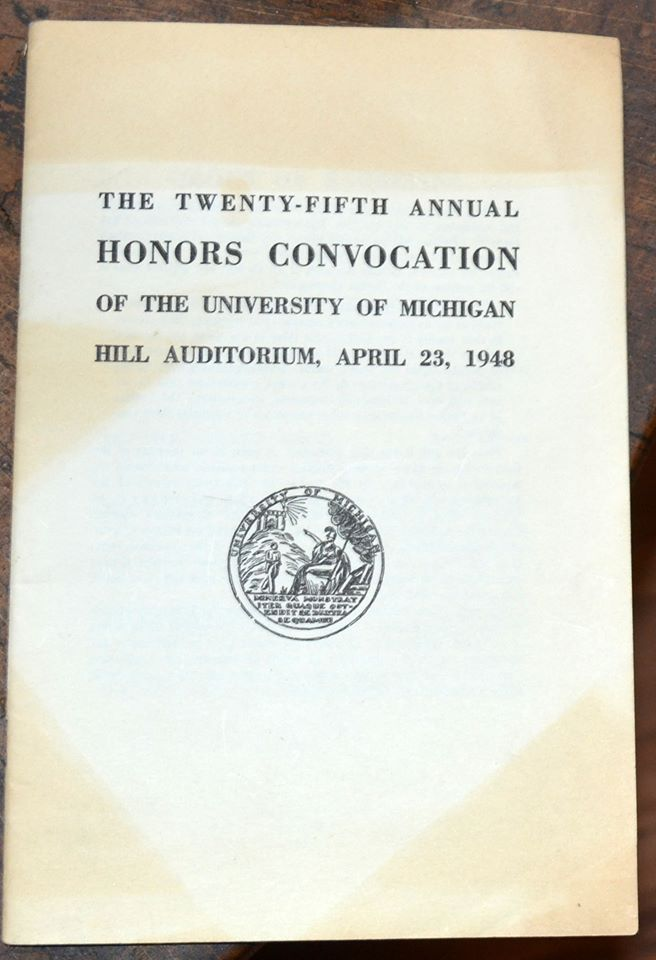 I have this graduation pamphlet from University of Michigan