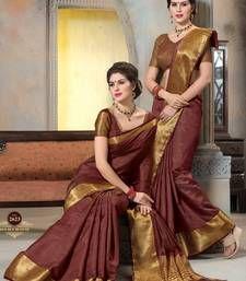 Buy maroon woven Silk saree with blouse manipuri-silk-saree online