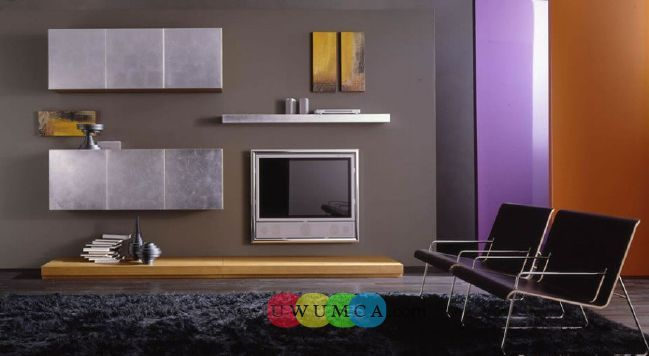 Living Room:Modern TV Wall Units 18 In Wood Brown Color And Metal Chrome Decorating Brazilian Living Room And Lighting With Sofa Furniture Coffee Table Chairs Rug Luxury Living Room Decor of an Art Collector by Gisele Taranto