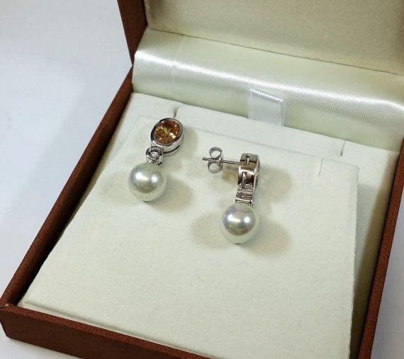 925 Silber Ohrringe Perle weiß Kristallsteine von Schmuckbaron