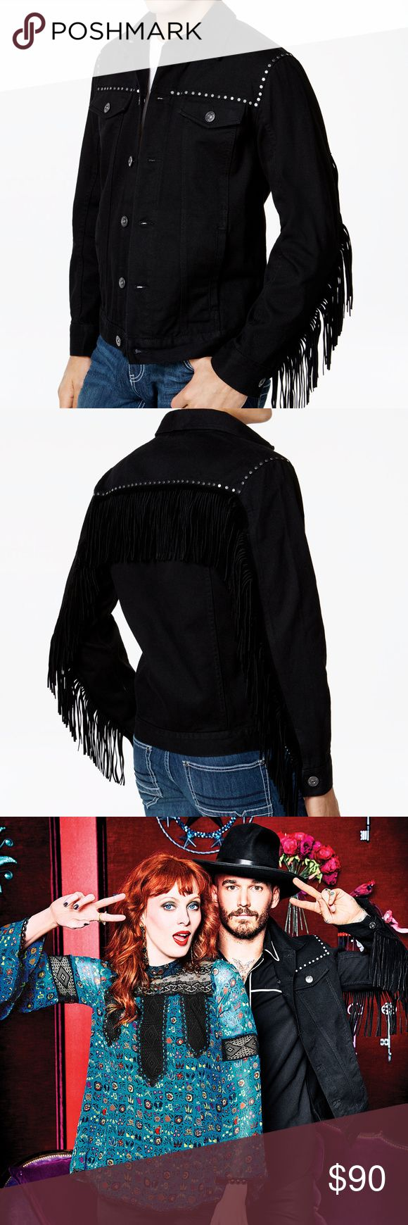 Anna Sui x INC Black Denim Fringe Trim Jean Jacket Product Details On the fringe: the hottest new look in denim is here from Anna Sui x INC International Concepts, featuring flowing fringe trim at the sleeves and back yoke, highlighted with studded accents.          Classic fit         Studded accents at front and back yoke; fringe trim at sleeves and back yoke         Two hand pockets at front; two flap pockets with button closures at chest         All cotton         Imported INC…