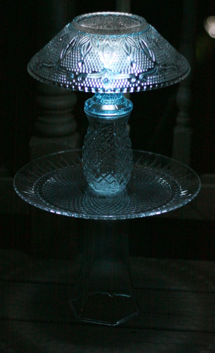 Look what you can create with solar lamps and  inexpensive glass bowls, vases and plates:  a beautiful Glass Lamp