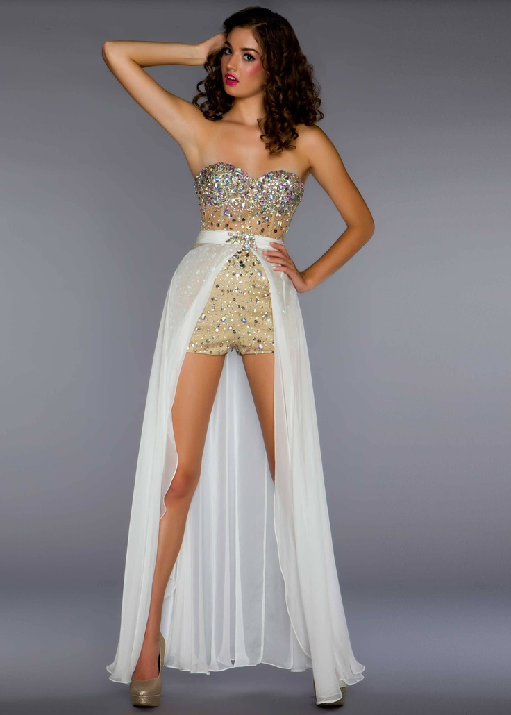 New 2013 Mac Duggal 61288B ivory nude strapless beaded romper prom dresses available now with RissyRoos.com.