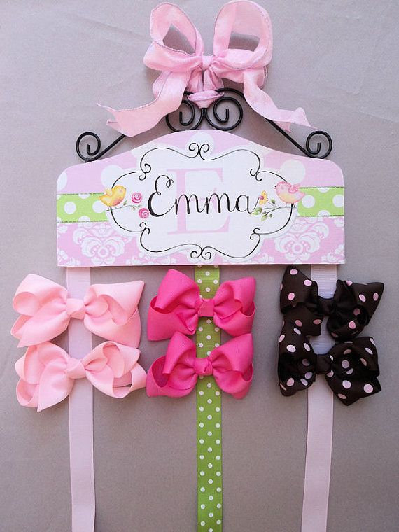 Hair Bow and Hair Clip PERSONALIZED HOLDER Pink by PoshHairClips