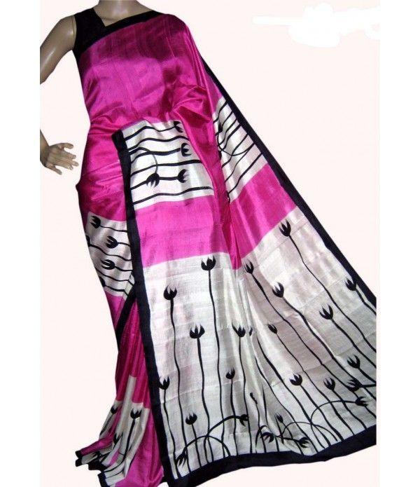 Pink Handloom Block Printed Murshidabad Silk Saree