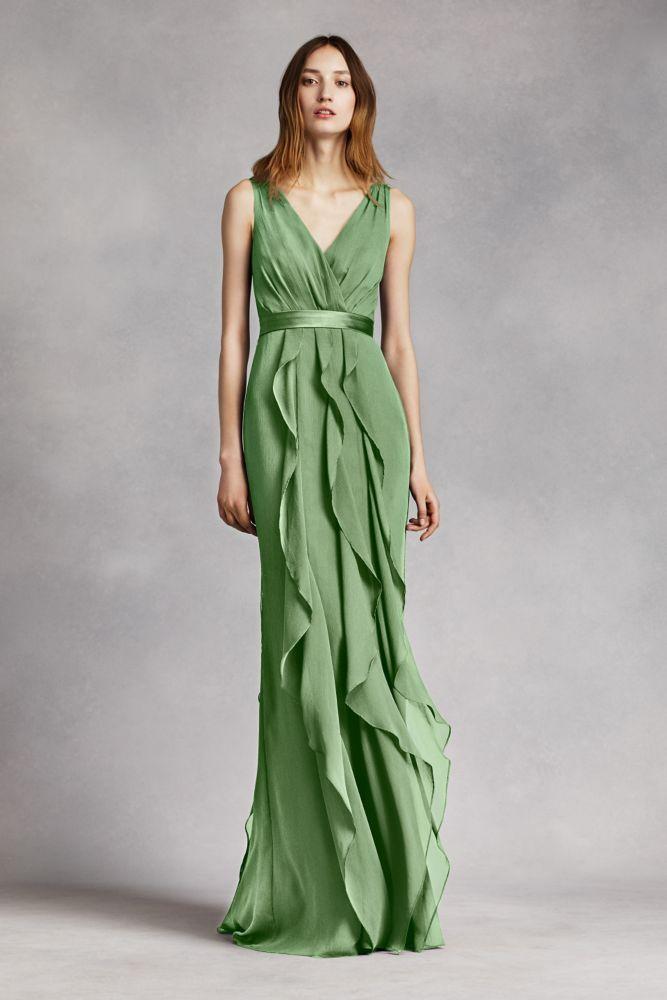 Chiffon V-Neck Wrapped Bodice Bridesmaid Dress with Satin Belt - Clover (Green), 0