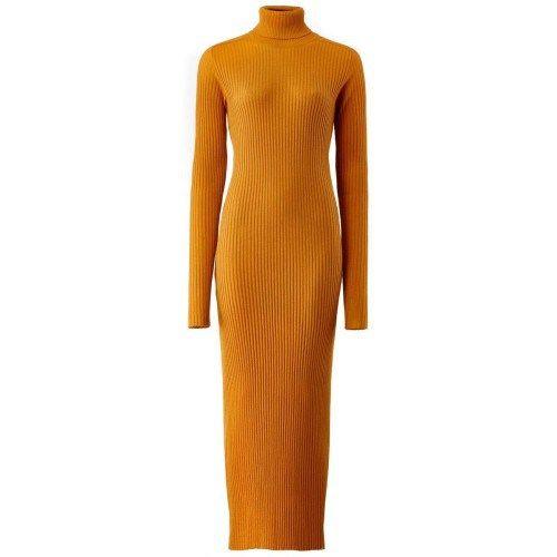 Μουσταρδί πλεκτό μακρύ φόρεμα ζιβάγκο