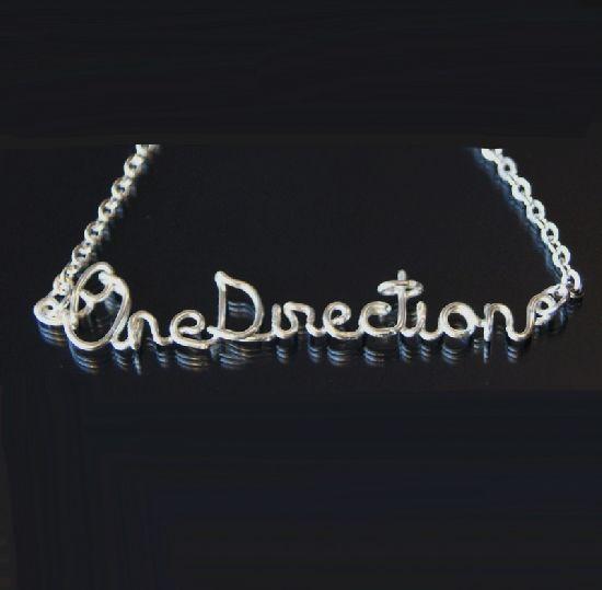 Colier One Direction, realizat manual din sarma placata cu argint, cu lant. , by BanaDesigns, 20 Lei