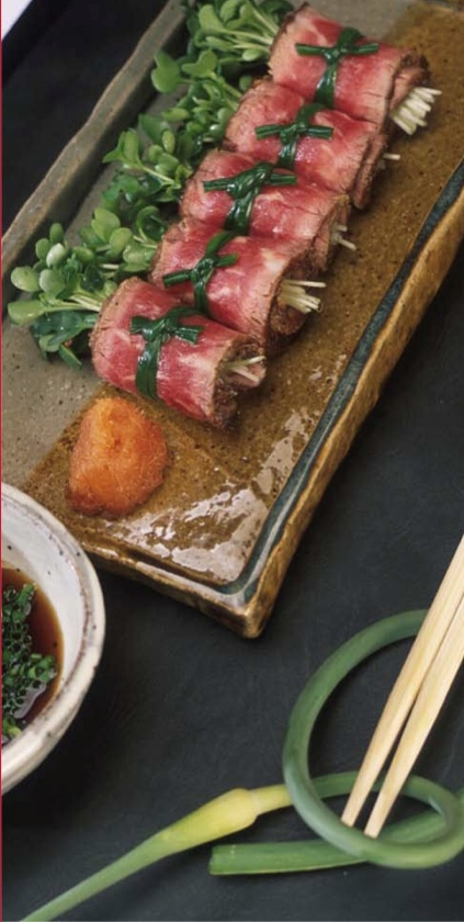 Tataki of Dry Aged New York Strip Steak  with Ponzu Sauce By chef Hiro Sone, Terra Restaurant, Napa Valley, CA  Made With: Certified Dry Aged Beef