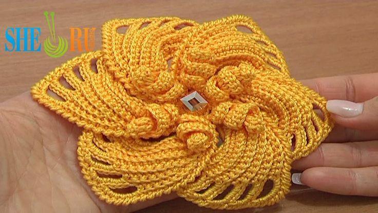 Crochet 6-Petal Flower Spirals In Center Tutorial 59 Part 1 of 2. buono, già c'è la seconda parte: è da cercare