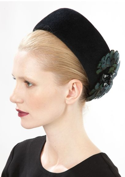 Jane Taylor Millinery, A/W 2014. Shell - Felt Pillbox with feather & Sequin.