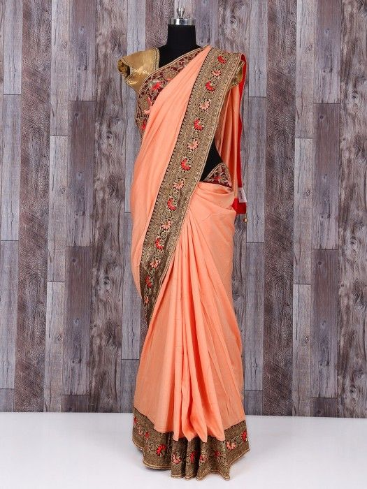 Silk peach beautiful saree - G3-WSA22640   G3fashion.com