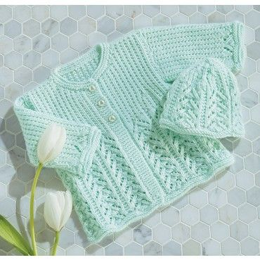 """Mary Maxim - Lace Baby Jacket & Hat - Size 6, 12 mos (19, 20"""") - Baby's Best Yarn Sale - Promotions"""