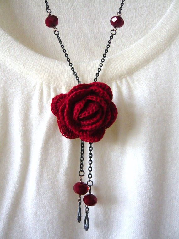 Crochet red rose necklace