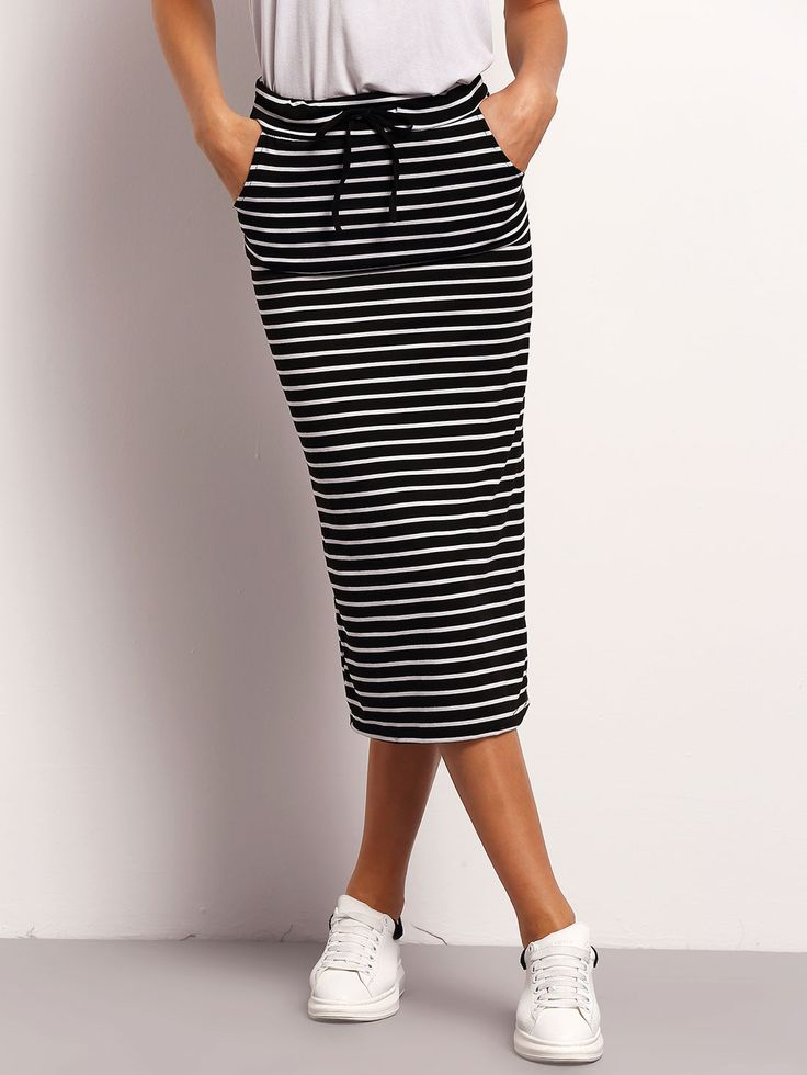 Shop Black White Drawstring Waist Striped Skirt online. SheIn offers Black White Drawstring Waist Striped Skirt & more to fit your fashionable needs.