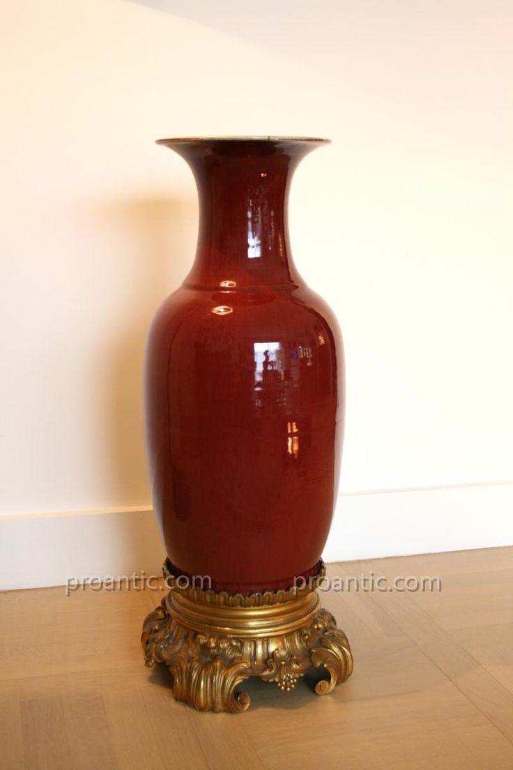 Vase en porcelaine de chine rouge sang de boeuf monture - Couleur rouge sang de boeuf ...