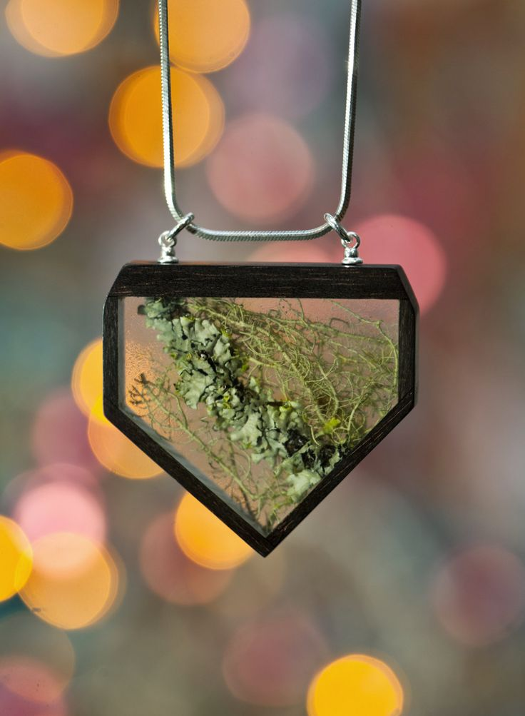 Botanical necklace Silver 925 necklace Ebony wood pendant Plants in resin pendant Floral jewellery Gift for her Christmas jewellery gift by vzorko on Etsy