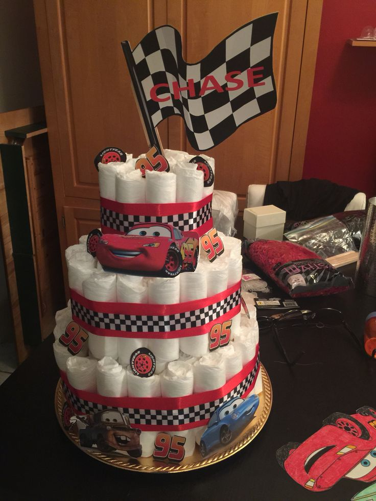 Baby Shower Themes Cars ~ Pixar cars themed diaper cake for baby shower