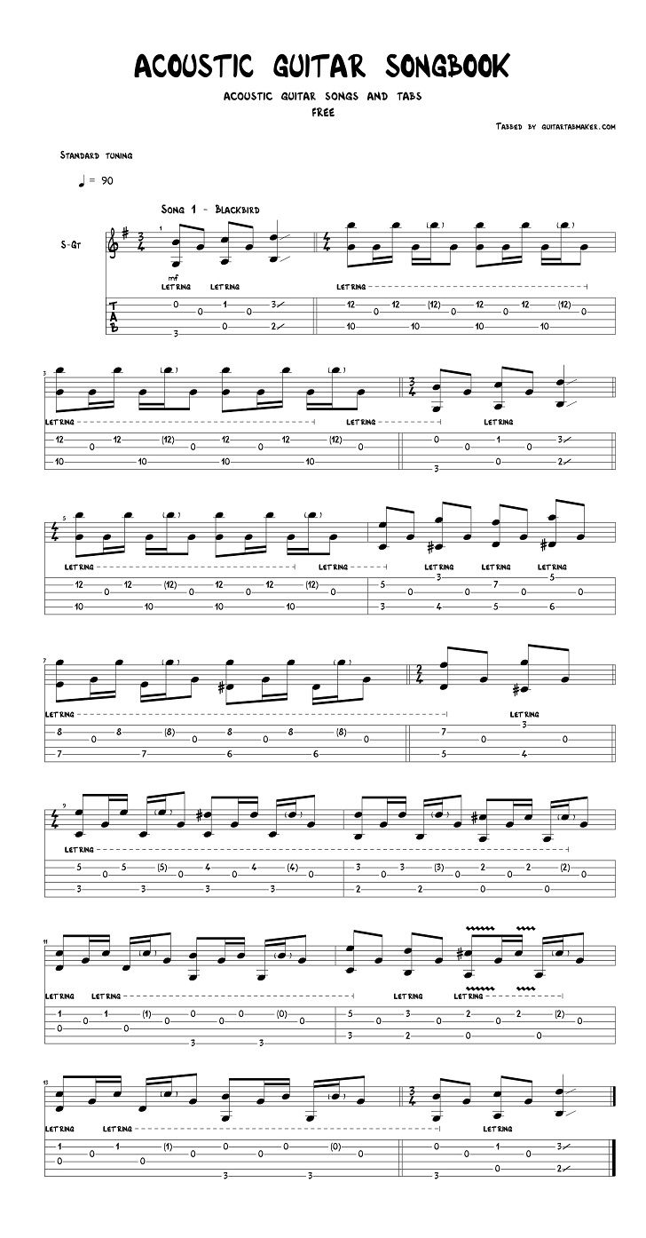 Free acoustic guitar tabs download in PDF and Guitar Pro formats