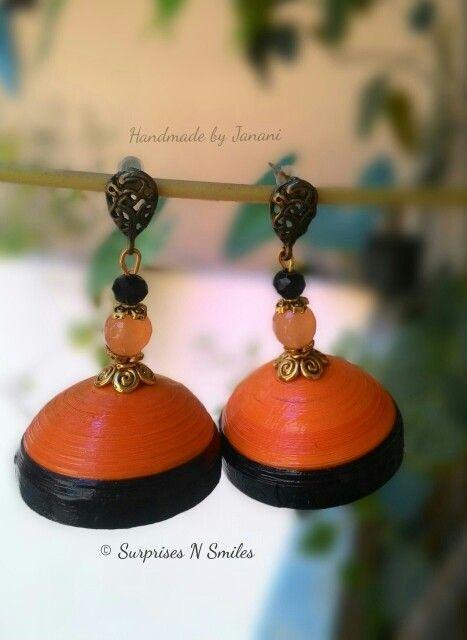 Orange n black #quilled #earrings #jhumkas #handmade