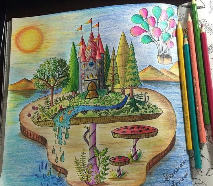 Mushroom Castle Enchanted Forest Castelo No Cogumelo Floresta Encantada Johanna Basford Adult ColoringColoring BooksArtwork