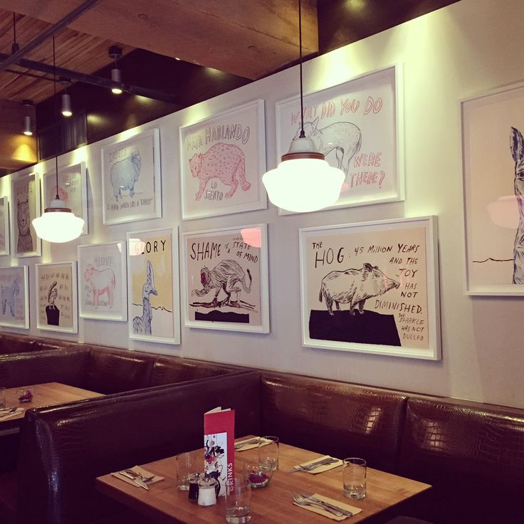 From Art Basel to Vancouver, BC, Dave Eggers pieces on the walls at Earls Yaletown.