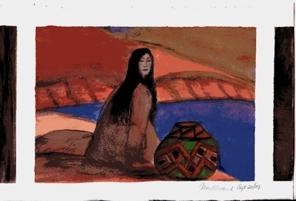 Native woman by the river.  Original Watercolor by Tammy Anne Gelfand.  Copyright (c) 2008-2102.  All Rights Reserved.