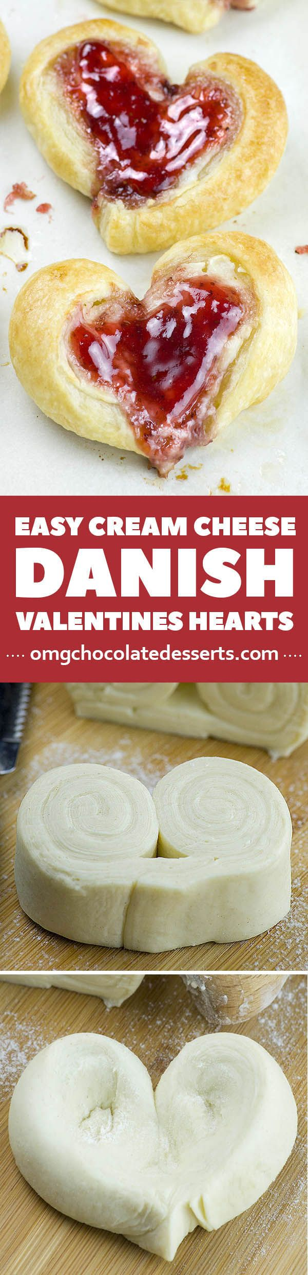These adorable Easy Cream Cheese Danish Valentine's Hearts are perfect Valentines breakfast idea!!!