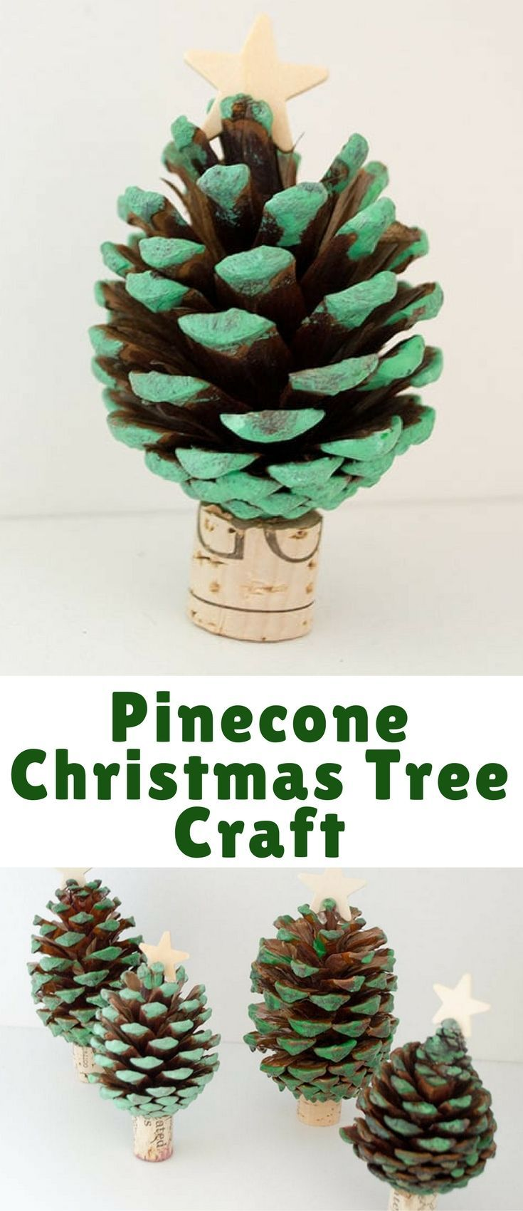 This pinecone Christmas tree craft was a fun project to do with my kids. Using acrylic paint, a star & wine cork, we have an adorable start to our holiday.